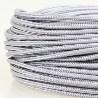 Textilkabel Stoffkabel silber 1-adrig 1x0,75mm² Einzeladerleitung
