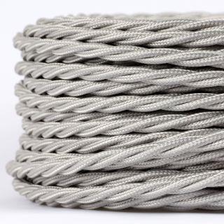 Textilkabel Stoffkabel silber 3-adrig 3x0,75 gedreht verseilt einzeln umflochten