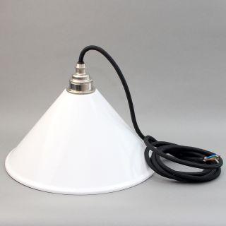 Lampenschirm weiß Textilkabel-Pendel schwarz mit E27 Vintage Metall-Fassung