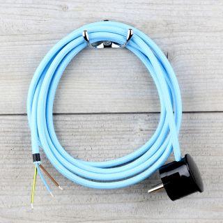 Textilkabel Anschlussleitung Zuleitung 2-5m himmelblau mit Schutzkontakt-Winkelstecker