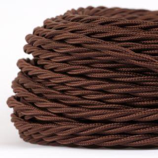 Textilkabel Stoffkabel braun 3-adrig 3x0,75 gedreht verseilt einzeln umflochten