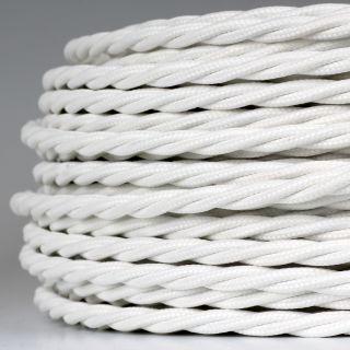 Textilkabel Stoffkabel weiss 3-adrig 3x0,75 gedreht verseilt einzeln umflochten