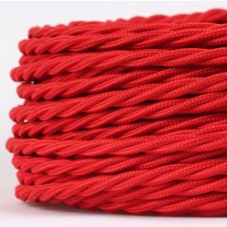 Textilkabel Stoffkabel rot 3-adrig 3x0,75 gedreht verseilt einzeln umflochten
