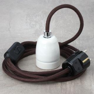 Textilkabel Lampenpendel braun mit E27 Porzellanfassung Schnurschalter und Schutzkontakt-Stecker schwarz
