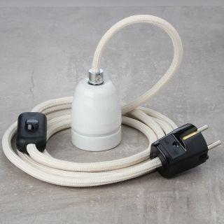 Textilkabel Lampenpendel elfenbein mit E27 Porzellanfassung Schnurschalter und Schutzkontakt-Stecker schwarz