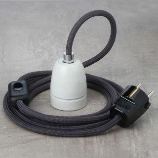 Textilkabel Lampenpendel graphit-grau mit E27 Porzellanfassung Schnurschalter und Schutzkontakt-Stecker schwarz