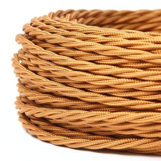 Textilkabel Stoffkabel englischgold 2-adrig 2x0,75 gedreht verseilt einzeln umflochten