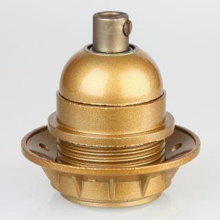 E27 Bakelit Fassung gold Teilgewindemantel 1 Schraubring Zugentlaster Kunstoff gold