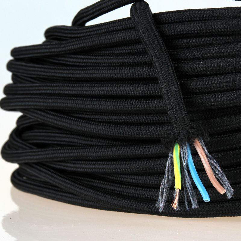 Textilkabel Stoffkabel Lampenkabel schwarz-weiß 3-adrig 3x0,75 Zug-Pendelleitung