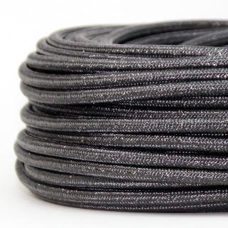Textilkabel Stoffkabel grau metallic 3-adrig 3x0,75 Gummischlauchleitung 3G 0,75 H03VV-F textilummantelt