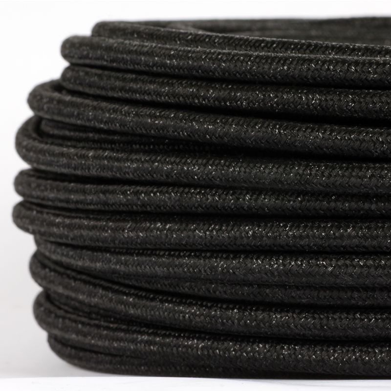 textilkabel stoffkabel schwarz metallic 3 adrig 3x0 75. Black Bedroom Furniture Sets. Home Design Ideas