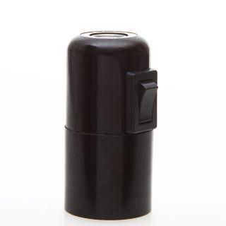 E27 Bakelit Vintage Fassung schwarz mit Glattmantel Wippschalter