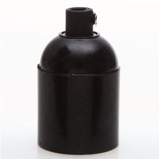 E27 Bakelit Fassung schwarz Glattmantel mit Zugentlaster Kunststoff schwarz