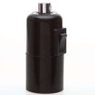 E27 Bakelit Vintage Fassung schwarz mit Glattmantel Wippschalter Metall Zugentlaster chrom