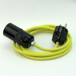 Textilkabel Pendel gelb E27 Bakelit Vintage Fassung mit Schalter schwarz und Schutzkontakt-Stecker
