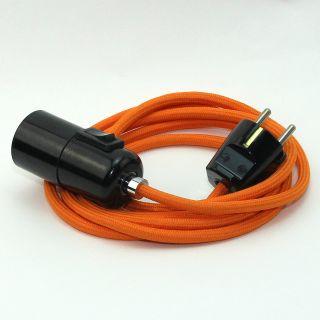 Textilkabel Pendel orange E27 Bakelit Vintage Fassung mit Schalter schwarz und Schutzkontakt-Stecker