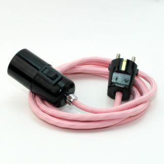 Textilkabel Pendel rosa E27 Bakelit Vintage Fassung mit Schalter schwarz und Schutzkontakt-Stecker