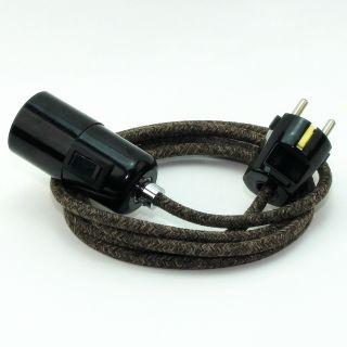Textilkabel Pendel braun meliert E27 Bakelit Vintage Fassung mit Schalter schwarz und Schutzkontakt-Stecker