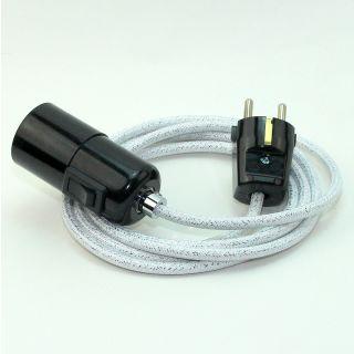Textilkabel Pendel weiß metallic E27 Bakelit Vintage Fassung mit Schalter schwarz und Schutzkontakt-Stecker