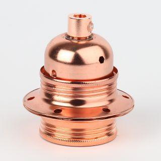 E27 Fassung metall kupfer mit Außengewinde inkl. Metall Zugentlaster und Schraubringe