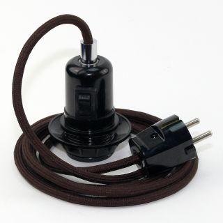Textilkabel Pendel braun E27 Bakelit Vintage Fassung Teilgewindemantel mit Schalter schwarz und Schutzkontakt-Stecker