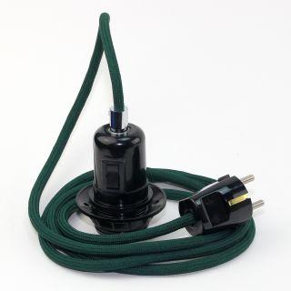 Textilkabel Pendel dunkelgrün E27 Bakelit Vintage Fassung Teilgewindemantel mit Schalter schwarz und Schutzkontakt-Stecker