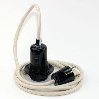 Textilkabel Pendel elfenbein E27 Bakelit Vintage Fassung Teilgewindemantel mit Schalter schwarz und Schutzkontakt-Stecker