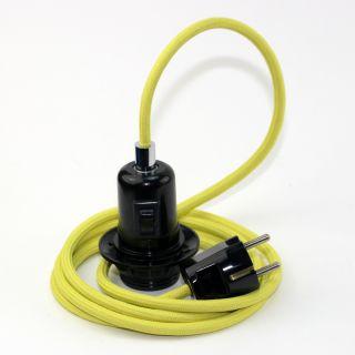 Textilkabel Pendel gelb E27 Bakelit Vintage Fassung Teilgewindemantel mit Schalter schwarz und Schutzkontakt-Stecker