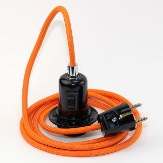 Textilkabel Pendel orange E27 Bakelit Vintage Fassung Teilgewindemantel mit Schalter schwarz und Schutzkontakt-Stecker
