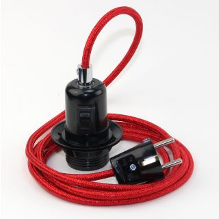 Textilkabel Pendel rot metallic E27 Bakelit Vintage Fassung Teilgewindemantel mit Schalter schwarz und Schutzkontakt-Stecker