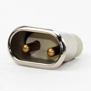 Metall Geräte-Einbaustecker 2P+E Steckerstifte 6 mm 10A