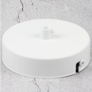Lampen Metall Baldachin 100x25mm weiß für 1 Lampenpendel mit Zugentlaster aus Kunststoff