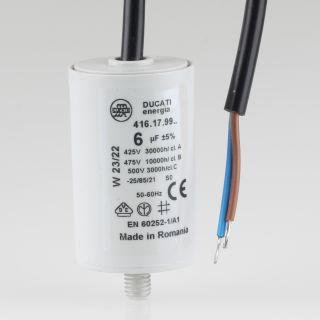 6uF 450V Anlaufkondensator Motorkondensator mit Kabel spritzwassergeschützt