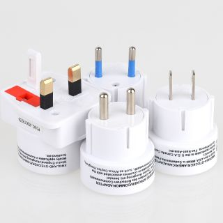 Reisestecker Adapter-Set weiß 4-teilig Südeuropa Amerika Afrika Asien Commonwelth