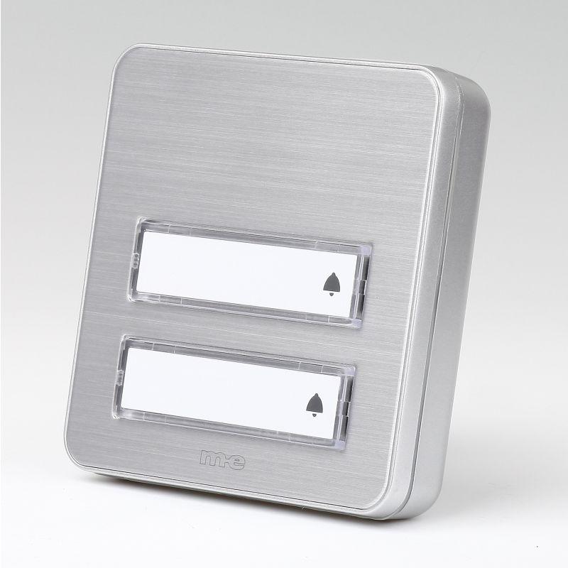 klingeltaster 2 fach aluminium f r aufputz montage 26 95. Black Bedroom Furniture Sets. Home Design Ideas