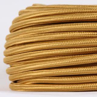 Textilkabel Stoffkabel gold 3-adrig 3x0,75 Gummischlauchleitung 3G 0,75 H03VV-F textilummantelt