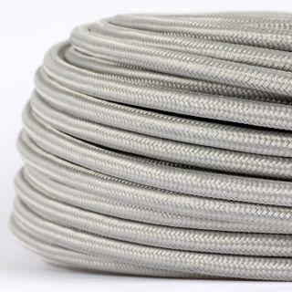 Textilkabel Stoffkabel silber 3-adrig 3x0,75 Gummischlauchleitung 3G 0,75 H03VV-F textilummantelt