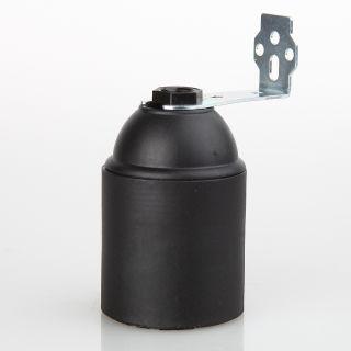 E27 Kunststoff Fassung schwarz ohne Außengewinde M10x1 IG 250V/4A mit Metallwinkel