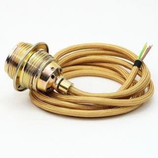 Textilkabel Lampenpendel gold E27 Metallfassung inkl. Klemmnippel Zugentlaster Metall vermessingt