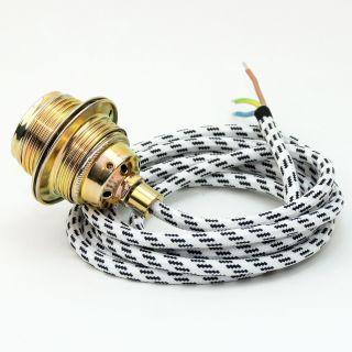 Textilkabel Lampenpendel schwarz-weiss E27 Metallfassung inkl. Klemmnippel Zugentlaster Metall vermessingt