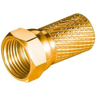 Aufdreh F-Stecker Kupfer vergoldet für Kabeldurchmesser bis 7 mm