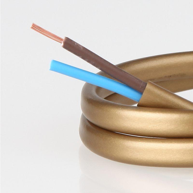 Pvc Lampenkabel Flachkabel Gold 2 Adrig 2x0 75mm H03 Vvh 2f 1 12