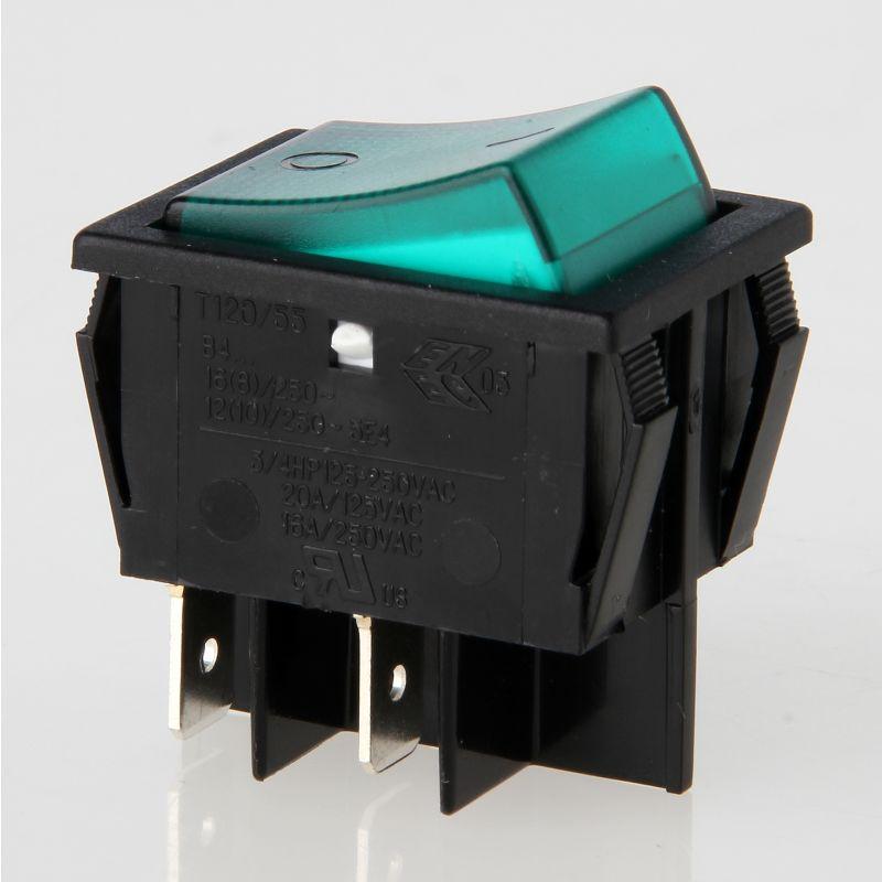 Netzschalter Schalter Wippschalter rund 3 pol mit Signallampe grün