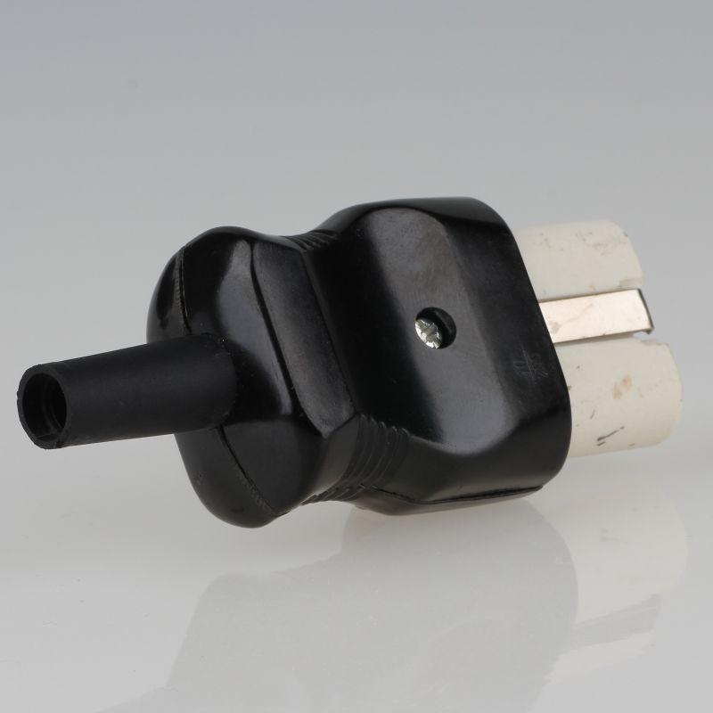 Antyki i Sztuka alter Gerätestecker für Steckdose Kabel Bakelit 10A 250 Volt Stecker weiß
