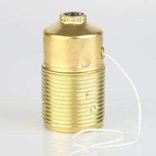 E27 Lampenfassung Metall Messing gebeitzt mit Zugschalter