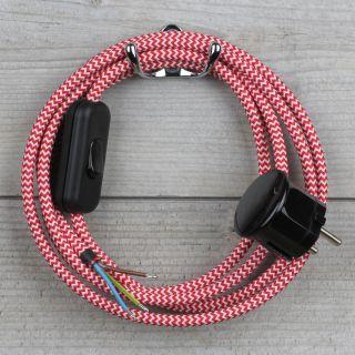 Textilkabel Anschlussleitung 2-5m rot-weiß zickzack mit Schalter u. Schutzkontakt Winkelstecker