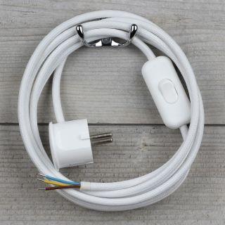 Textilkabel Anschlussleitung 2-5m weiß Schalter u. Schutzkontakt Winkelstecker