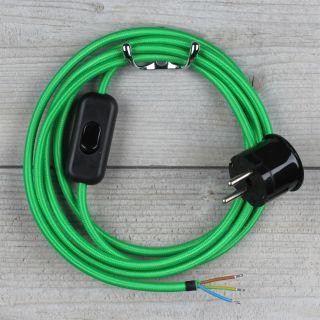 Textilkabel Anschlussleitung 2-5m grün Schalter u. Schutzkontakt Winkelstecker