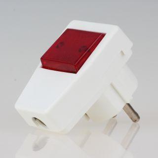 Schutzkontakt-Stecker Winkelstecker reinweiss mit Kontrollschalter beleuchtet 250V/10A