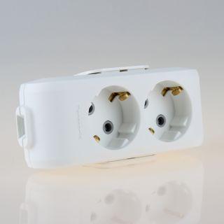 Tischsteckdose Steckdosenleiste weiß 2-fach 250V//16A ohne Kabel mit Zugentlastun